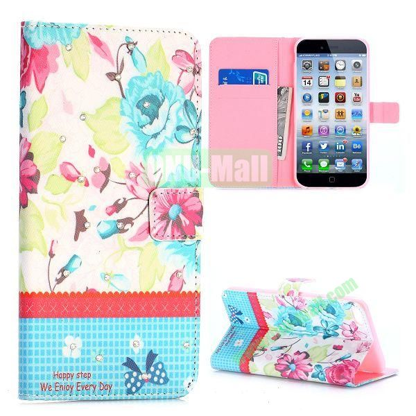 Flowers Design Cross Texture with Rhinestone Inlaid Flip Leather Case for iPhone 6 Plus 5.5 inch (Elegant Flowers)