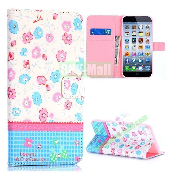 Flowers Design Cross Texture with Rhinestone Inlaid Flip Leather Case for iPhone 6 Plus 5.5 inch (Cute Flowers)