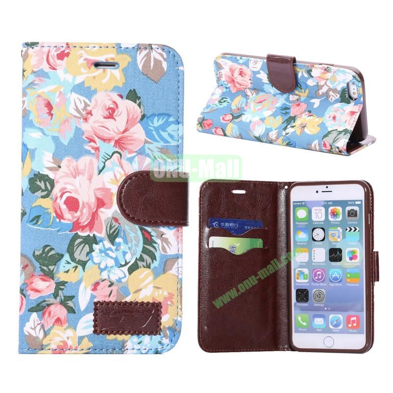 Flowers Design Cloth Texture Wallet Syle Flip Leather Case for iPhone 6 Plus 5.5 inch (Blue)