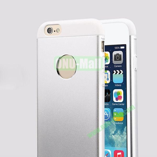 TOTU Design Knight Series Splicing Style Dual-color Aluminum+PC Hybrid Case for iPhone 6 4.7 inch (Silver+White)