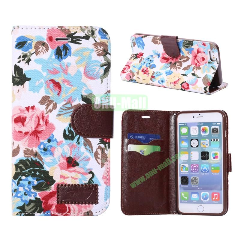Flowers Design Cloth Texture Wallet Syle Flip Leather Case for iPhone 6 Plus 5.5 inch (White)