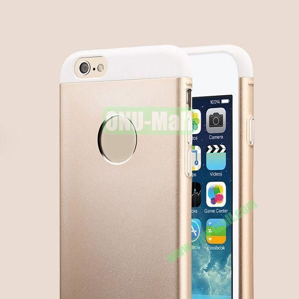 TOTU Design Knight Series Splicing Style Dual-color Aluminum+PC Hybrid Case for iPhone 6 4.7 inch (Gold+White)
