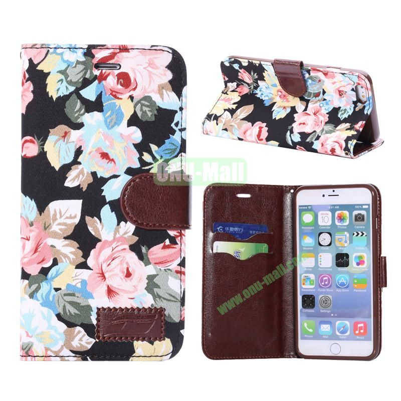 Flowers Design Cloth Texture Wallet Syle Flip Leather Case for iPhone 6 Plus 5.5 inch (Black)