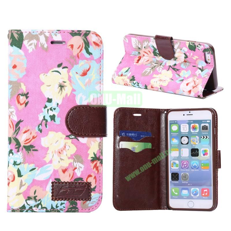 Flowers Design Cloth Texture Wallet Syle Flip Leather Case for iPhone 6 Plus 5.5 inch (Pink)