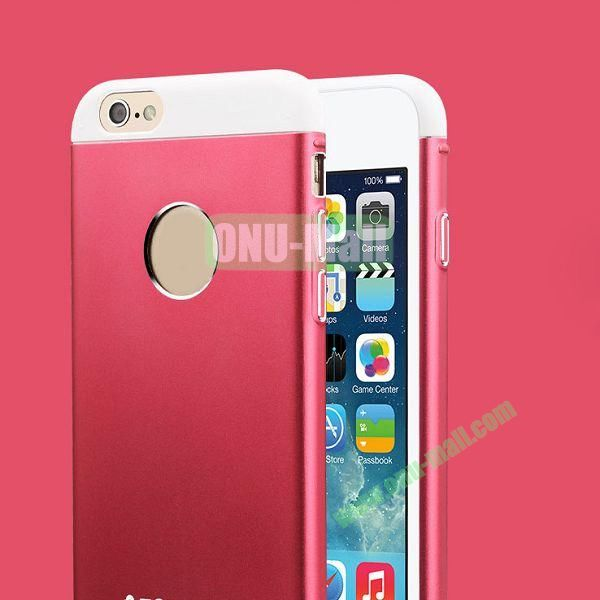 TOTU Design Knight Series Splicing Style Dual-color Aluminum+PC Hybrid Case for iPhone 6 4.7 inch (Red+White)