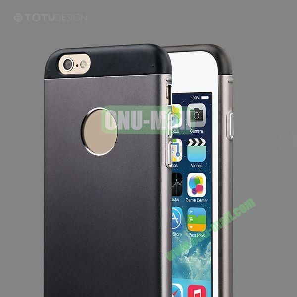 TOTU Design Knight Series Splicing Style Dual-color Aluminum+PC Hybrid Case for iPhone 6 4.7 inch (Black)