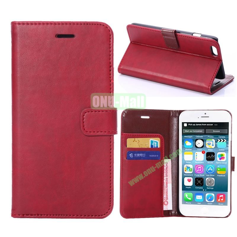 Crazy Horse Texture Flip Stand Leather Case For iPhone 6 Plus 5.5 inch (Red)