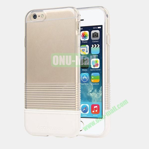 TOTU Design Soft Color Series Anti-slide Style Detachable PC+TPU Hybrid Case for iPhone 6 4.7 inch (Transparent+White)