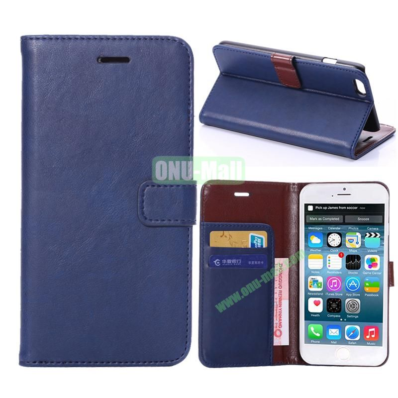 Crazy Horse Texture Flip Stand Leather Case For iPhone 6 Plus 5.5 inch (Dark Blue)