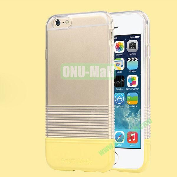 TOTU Design Soft Color Series Anti-slide Style Detachable PC+TPU Hybrid Case for iPhone 6 4.7 inch (Transparent+Yellow)