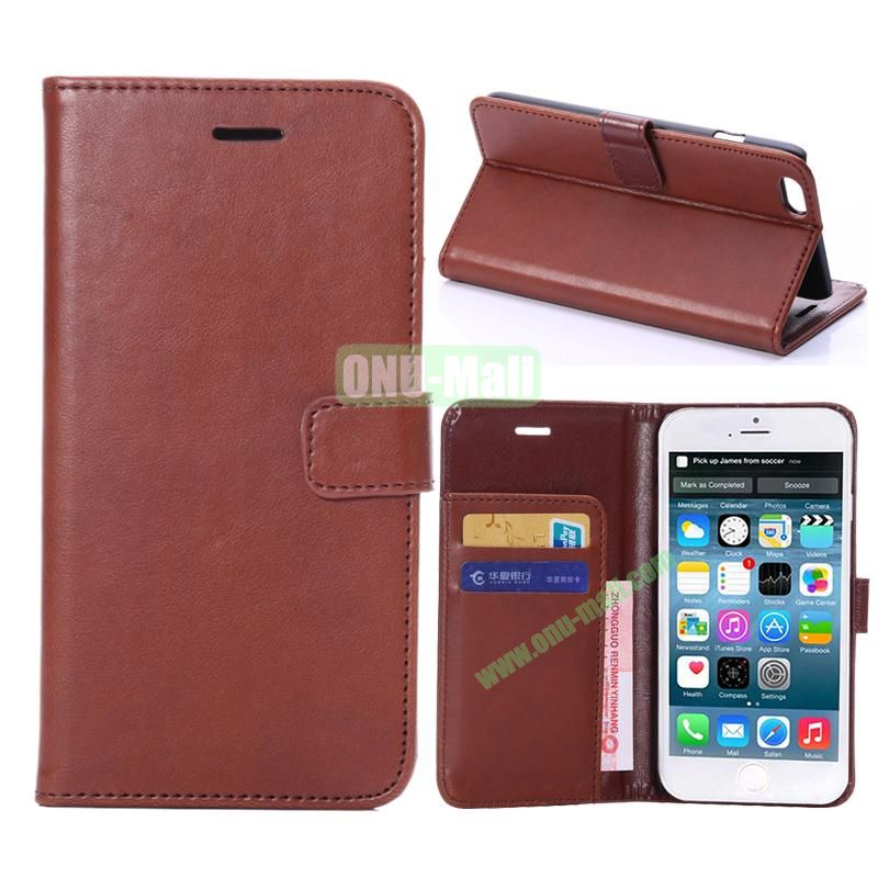 Crazy Horse Texture Flip Stand Leather Case For iPhone 6 Plus 5.5 inch (Brown)