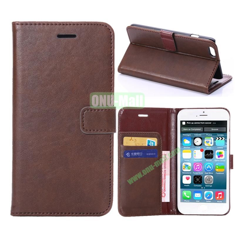 Crazy Horse Texture Flip Stand Leather Case For iPhone 6 Plus 5.5 inch (Coffee)
