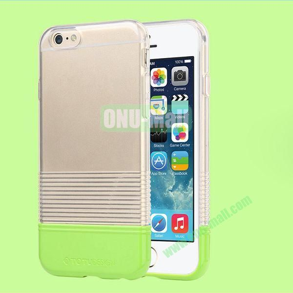 TOTU Design Soft Color Series Anti-slide Style Detachable PC+TPU Hybrid Case for iPhone 6 4.7 inch (Transparent+Green)