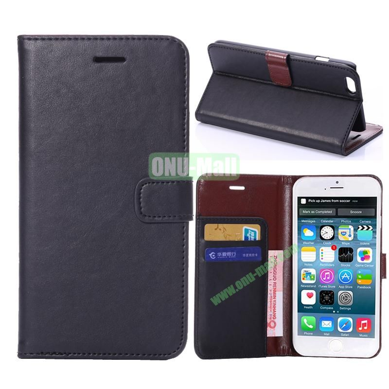 Crazy Horse Texture Flip Stand Leather Case For iPhone 6 Plus 5.5 inch (Black)