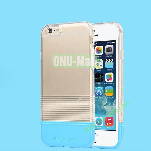 TOTU Design Soft Color Series Anti-slide Style Detachable PC+TPU Hybrid Case for iPhone 6 4.7 inch (Transparent+Blue)
