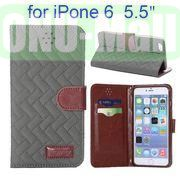 Grid Texture Cloth Skin Wallet Style Flip Stand Leather Case For iPhone 6 Plus 5.5 inch (Gray)