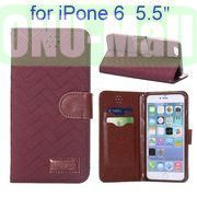 Grid Texture Cloth Skin Wallet Style Flip Stand Leather Case For iPhone 6 Plus 5.5 inch (Dark Red)