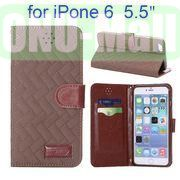 Grid Texture Cloth Skin Wallet Style Flip Stand Leather Case For iPhone 6 Plus 5.5 inch (Brown)