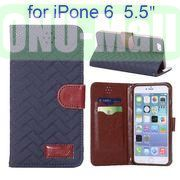 Grid Texture Cloth Skin Wallet Style Flip Stand Leather Case For iPhone 6 Plus 5.5 inch (Dark Blue)