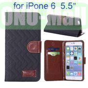 Grid Texture Cloth Skin Wallet Style Flip Stand Leather Case For iPhone 6 Plus 5.5 inch (Black)