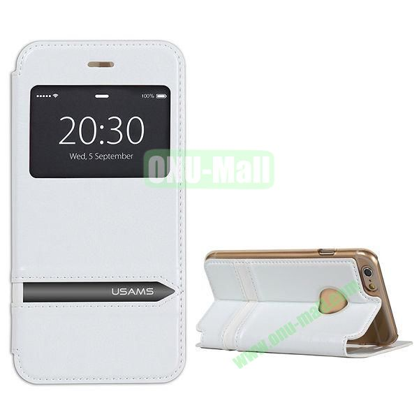 USAMS Flip Stand Transparent PC+PU Leather Case for iPhone 6 4.7 inch with Caller ID Display Window (White)