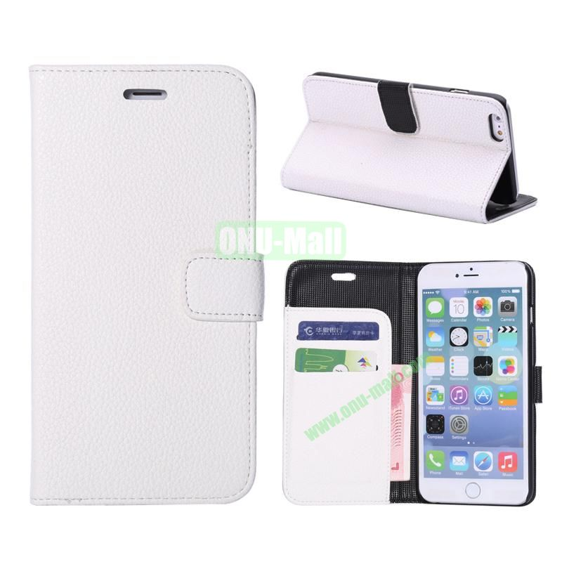 Litchi Texture Wallet Pattern with Card Slots Flip Leather Case for iPhone 6 Plus 5.5 inch (White)