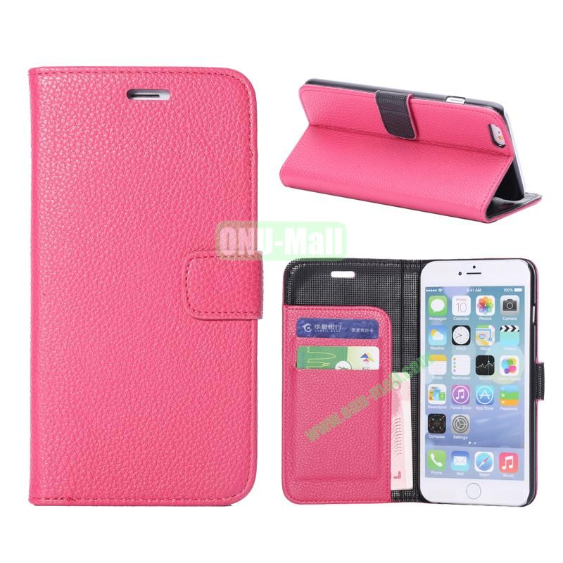 Litchi Texture Wallet Pattern with Card Slots Flip Leather Case for iPhone 6 Plus 5.5 inch (Rose)