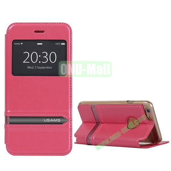 USAMS Flip Stand Transparent PC+PU Leather Case for iPhone 6 4.7 inch with Caller ID Display Window (Rose)