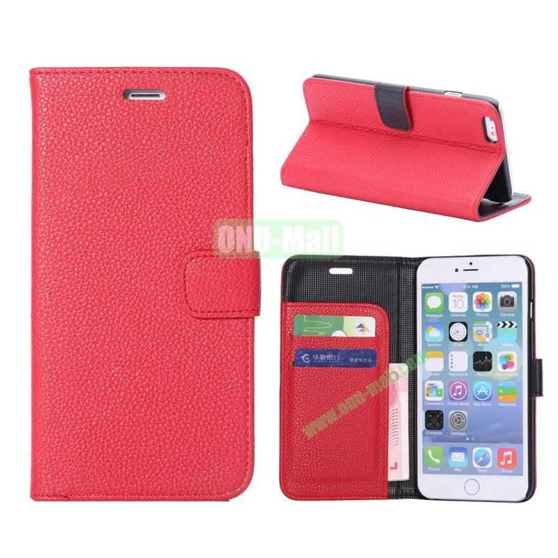 Litchi Texture Wallet Pattern with Card Slots Flip Leather Case for iPhone 6 Plus 5.5 inch (Red)