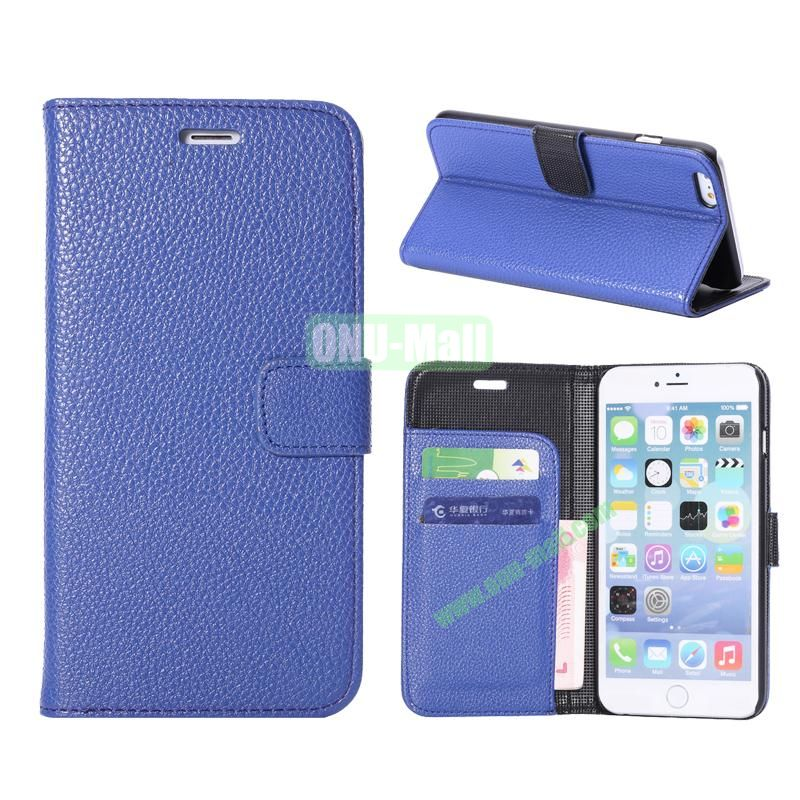 Litchi Texture Wallet Pattern with Card Slots Flip Leather Case for iPhone 6 Plus 5.5 inch (Blue)