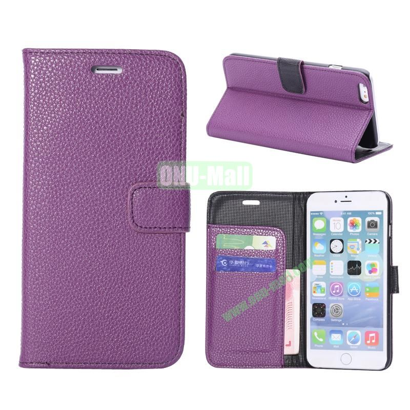 Litchi Texture Wallet Pattern with Card Slots Flip Leather Case for iPhone 6 Plus 5.5 inch (Purple)