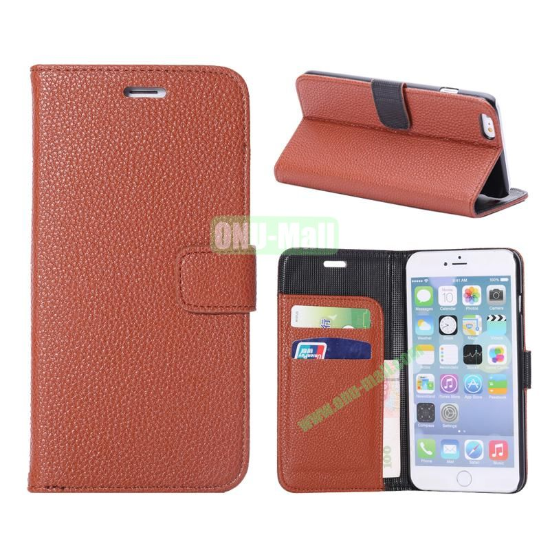 Litchi Texture Wallet Pattern with Card Slots Flip Leather Case for iPhone 6 Plus 5.5 inch (Brown)