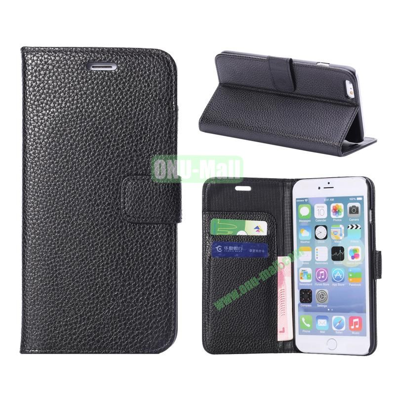 Litchi Texture Wallet Pattern with Card Slots Flip Leather Case for iPhone 6 Plus 5.5 inch (Black)