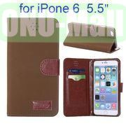 Retro Pattern Wallet Style with Card Slots Flip Leather Case for iPhone 6 Plus 5.5 inch (Brown)