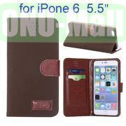 Retro Pattern Wallet Style with Card Slots Flip Leather Case for iPhone 6 Plus 5.5 inch (Coffee)