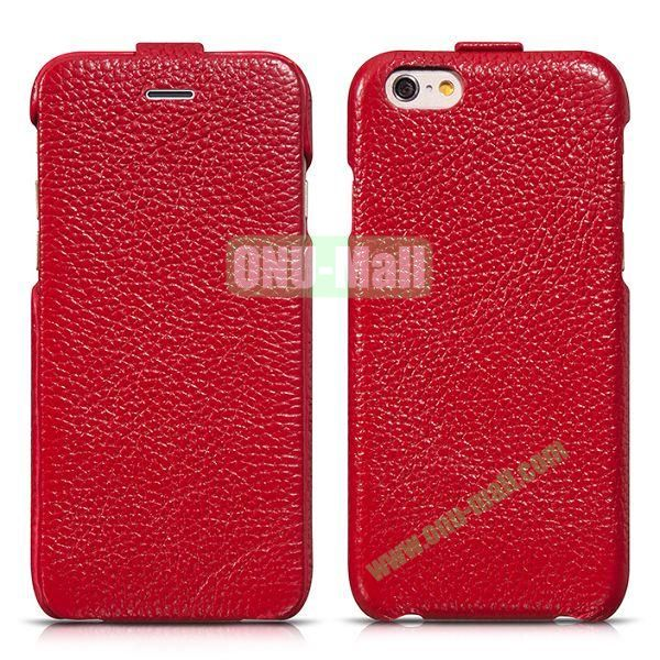 HOCO Premium Collection Litchi Texture Vertical Flip Genuine Leather Case for iPhone 6 4.7 inch (Red)