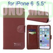 Retro Pattern Wallet Style with Card Slots Flip Leather Case for iPhone 6 Plus 5.5 inch (Reddish Brown)