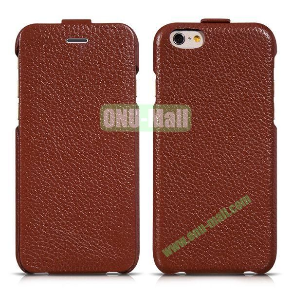 HOCO Premium Collection Litchi Texture Vertical Flip Genuine Leather Case for iPhone 6 4.7 inch (Brown)