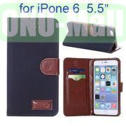 Retro Pattern Wallet Style with Card Slots Flip Leather Case for iPhone 6 Plus 5.5 inch (Dark Blue)