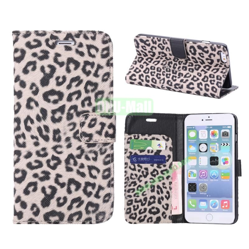 Leopard Pattern Flip Stand Leather Case For iPhone 6 Plus 5.5 inch (Beige)