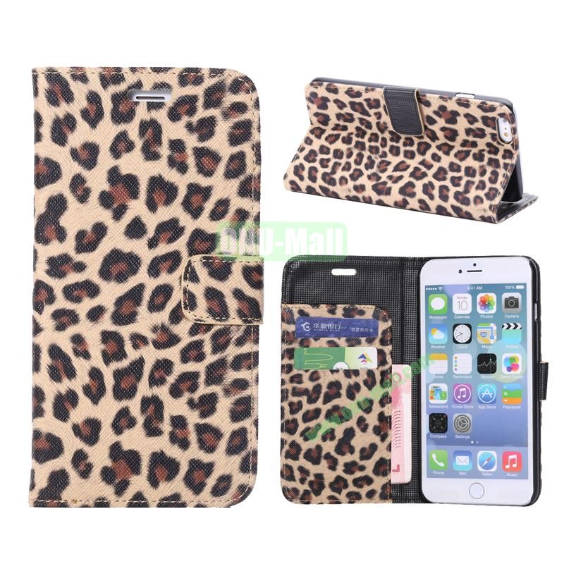 Leopard Pattern Flip Stand Leather Case For iPhone 6 Plus 5.5 inch (Brown)