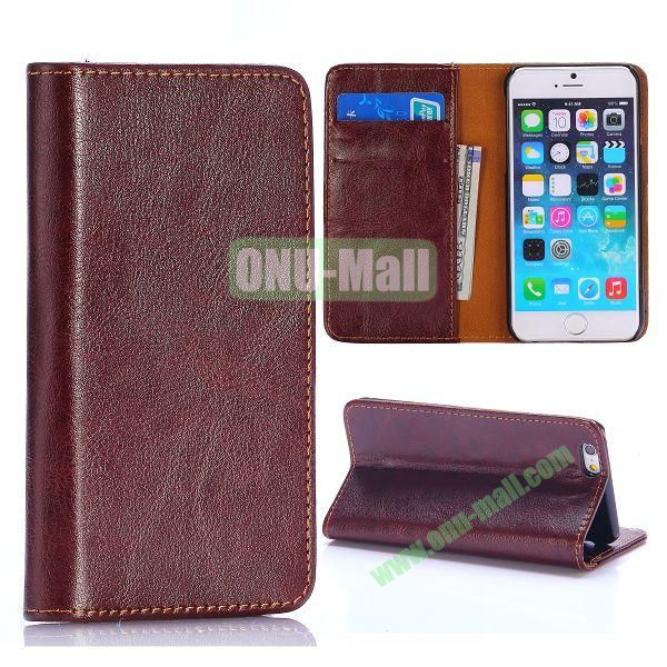 Crystal Grain Wallet Style Flip Leather Case for iPhone 6 4.7 inch (Brown)