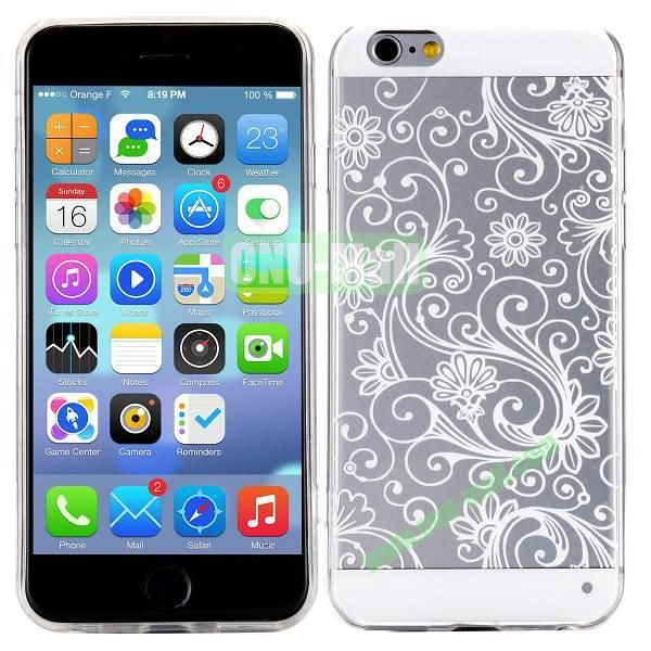 Special Cherry Embossed Followers Patterm Transparent PC and TPU Case for iPhone 6 4.7 inch (White)