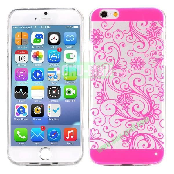 Special Cherry Embossed Followers Patterm Transparent PC and TPU Case for iPhone 6 4.7 inch (Rose)