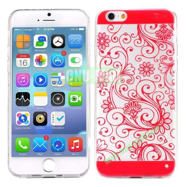 Special Cherry Embossed Followers Patterm Transparent PC and TPU Case for iPhone 6 4.7 inch (Red)