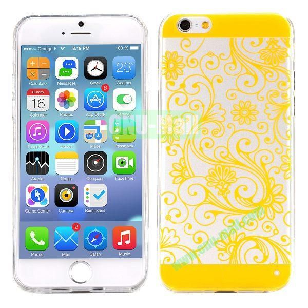 Special Cherry Embossed Followers Patterm Transparent PC and TPU Case for iPhone 6 4.7 inch (Yellow)