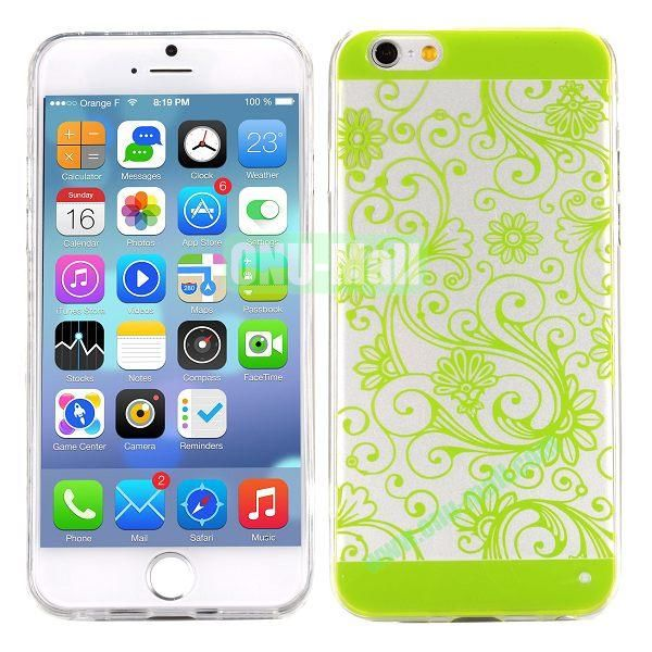 Special Cherry Embossed Followers Patterm Transparent PC and TPU Case for iPhone 6 4.7 inch (Green)