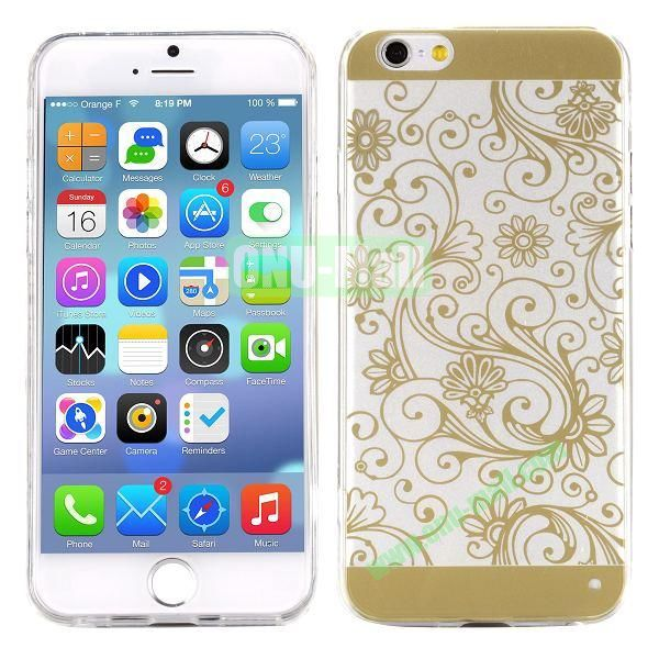Special Cherry Embossed Followers Patterm Transparent PC and TPU Case for iPhone 6 4.7 inch (Golden)