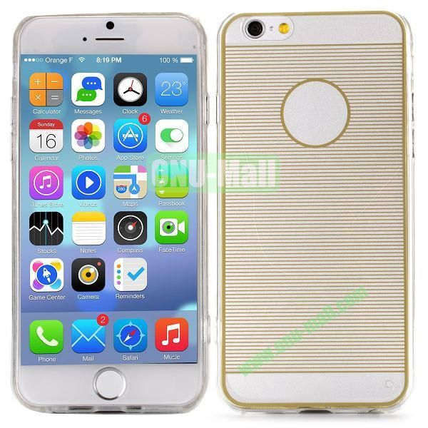 Stripes Pattern PC And TPU Protective Hard Case For iPhone 6 4.7 inch (Gold)