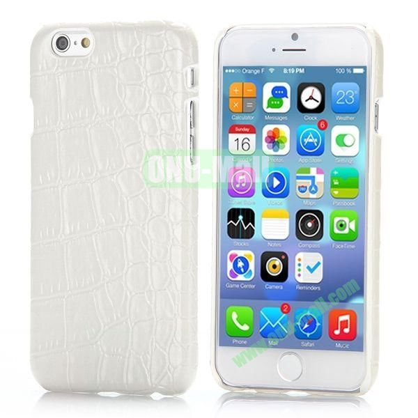 Crocodile Pattern Leather Coated Hard PC Case for iPhone 6 4.7 inch (White)